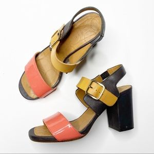 Chie Mihara Mulicolor Block Leather Open Toe Heels